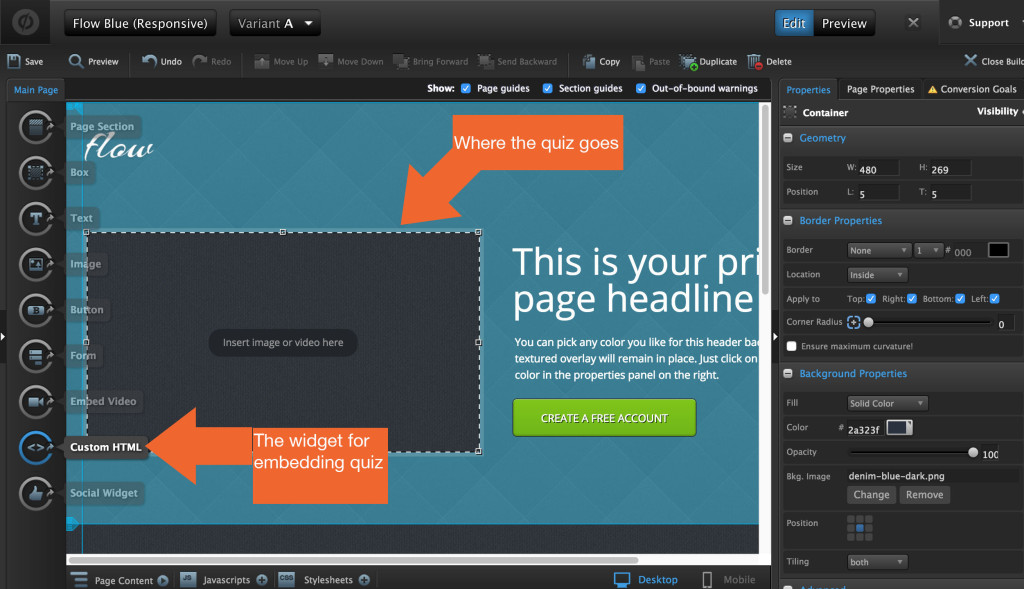 custom html quiz widget in unbounce