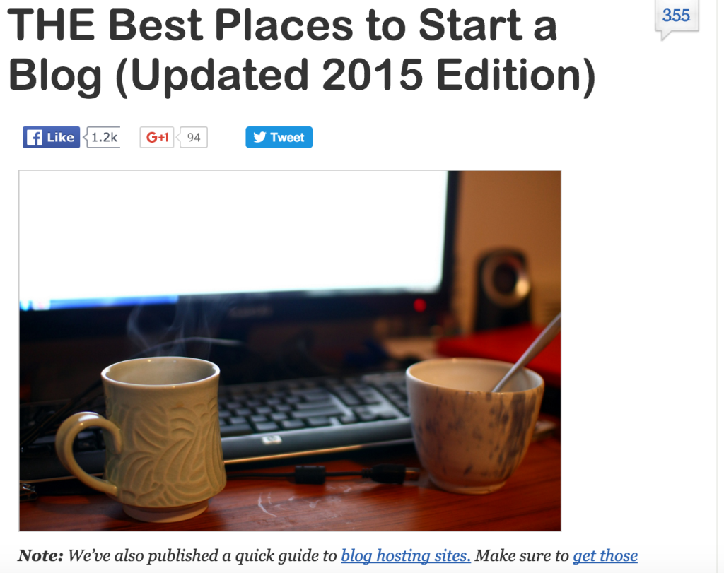 list of places to host a blog