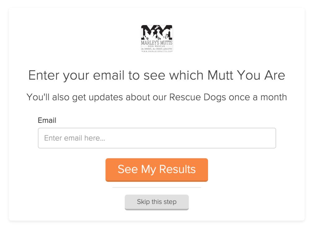 dog quiz email capture
