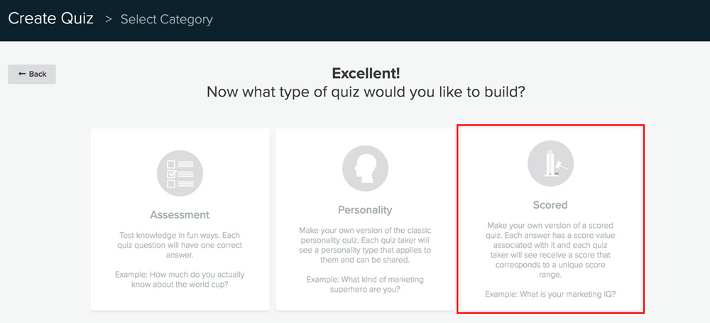 screenshot showing how to select a type of quiz in Interact quiz builder