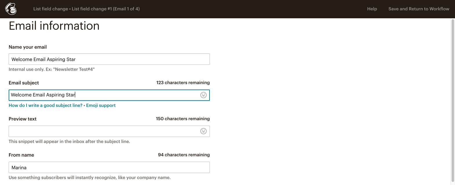 template design for Mailchimp
