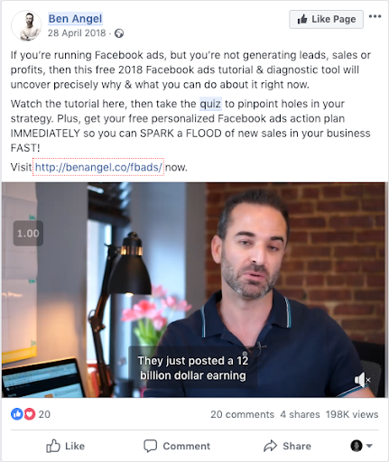 Facebook ad from Ben Angel with video of man talking