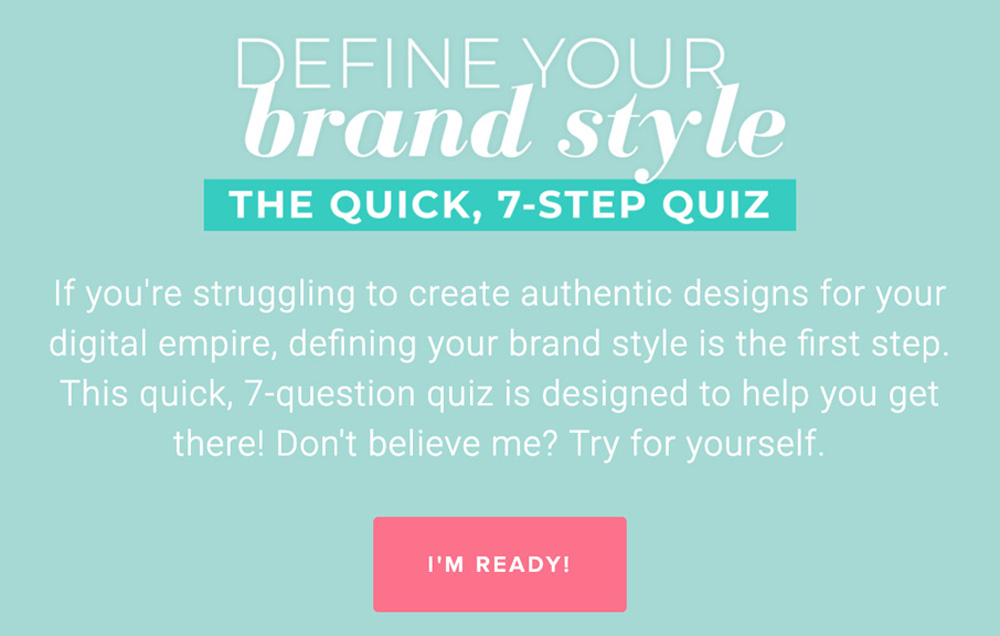 aqua background with define your brand style and take quiz button