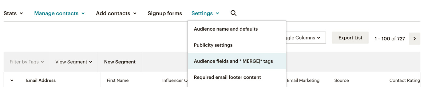 Mailchimp form to set tags for segments
