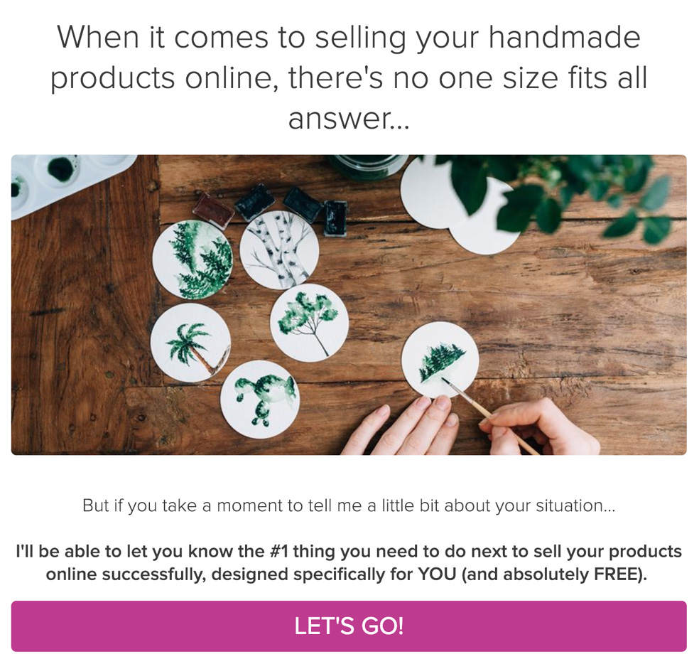 woman painting on white circles and what's the #1 thing you can do to sell handmade products online and take quiz button