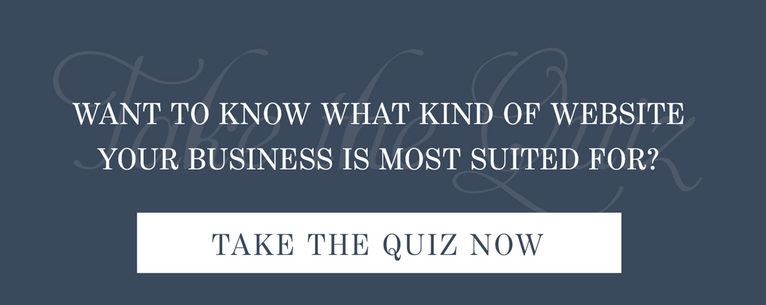 navy background and what kind of website is your business best suited for and take quiz button