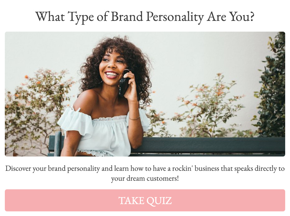 Woman talking on the phone with what type of brand personality are you and take quiz button