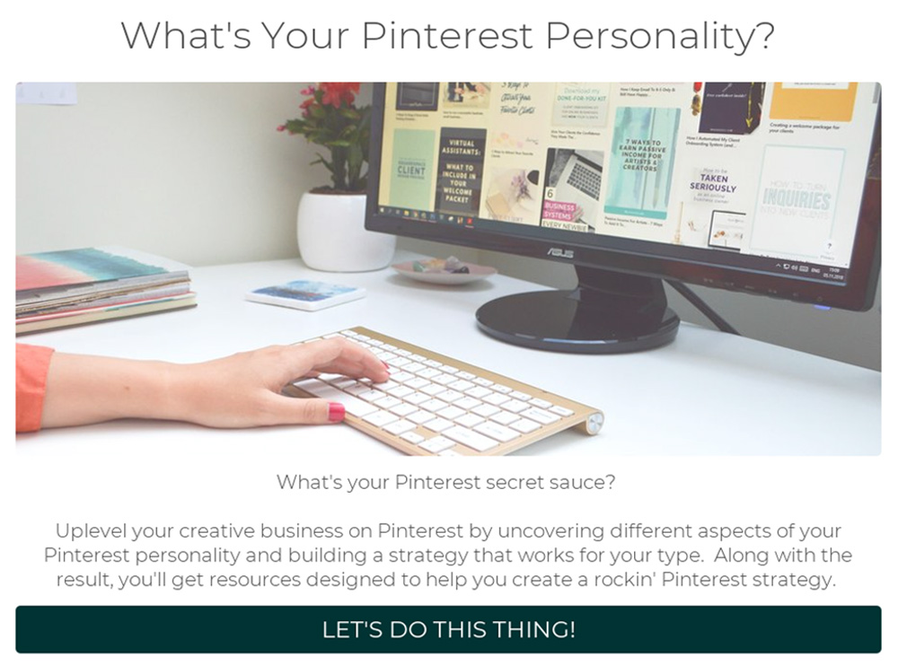 woman's hand on keyboard next to computer monitor with what's your Pinterest personality and take quiz button