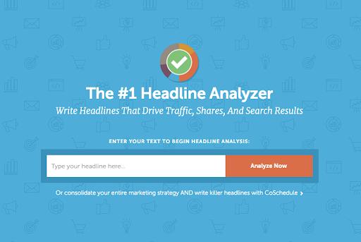 blue background with Coschedule Headline analyzer