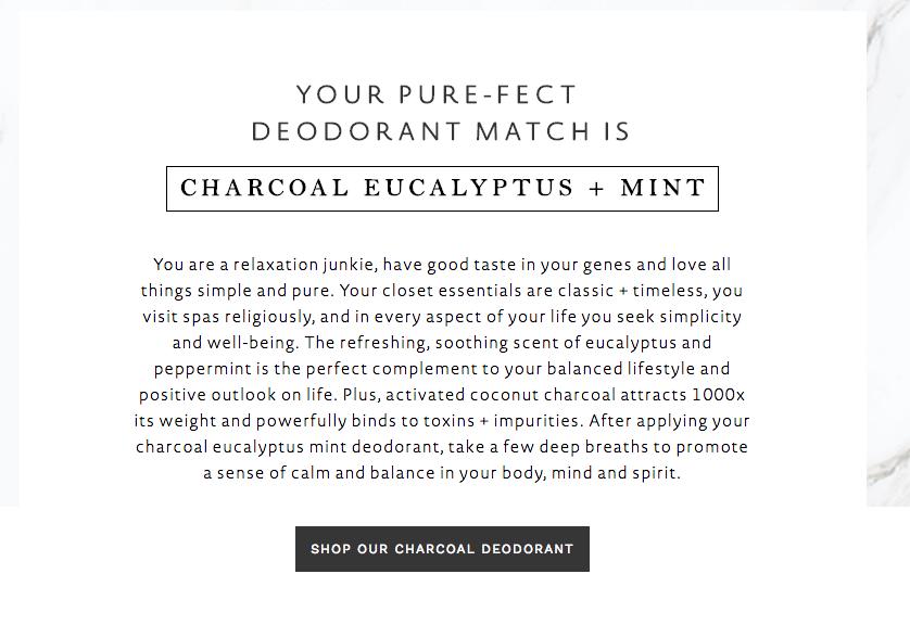 quiz result for deodorant scent quiz with description and button to shop deodorants