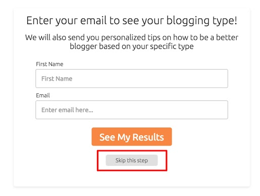 What's your blogging type? optin form with Skip this step highlighted