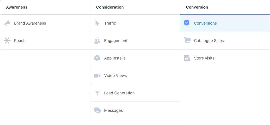 Facebook Ad Manager with conversion ads chosen