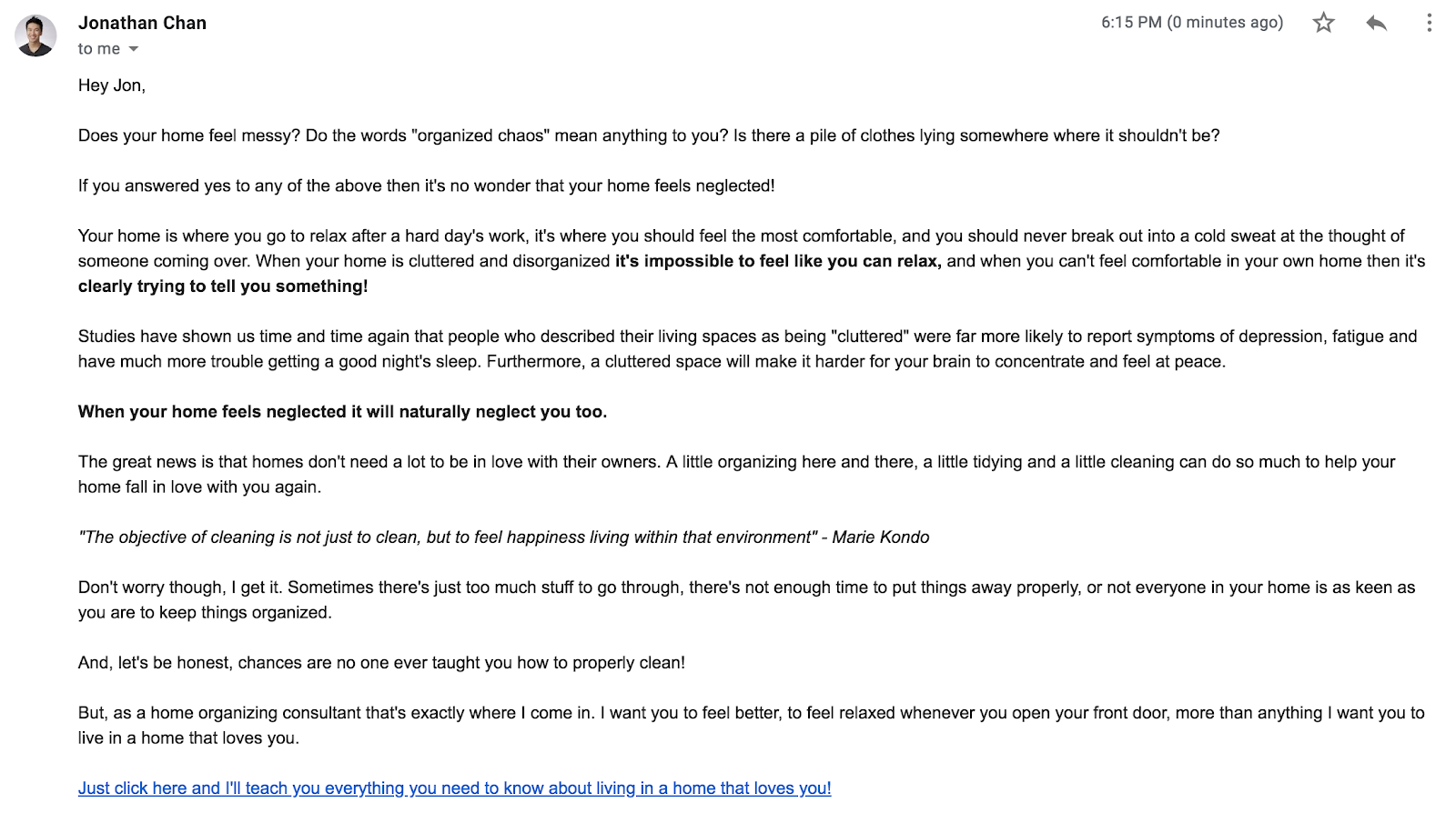 An example email from welcome sequence