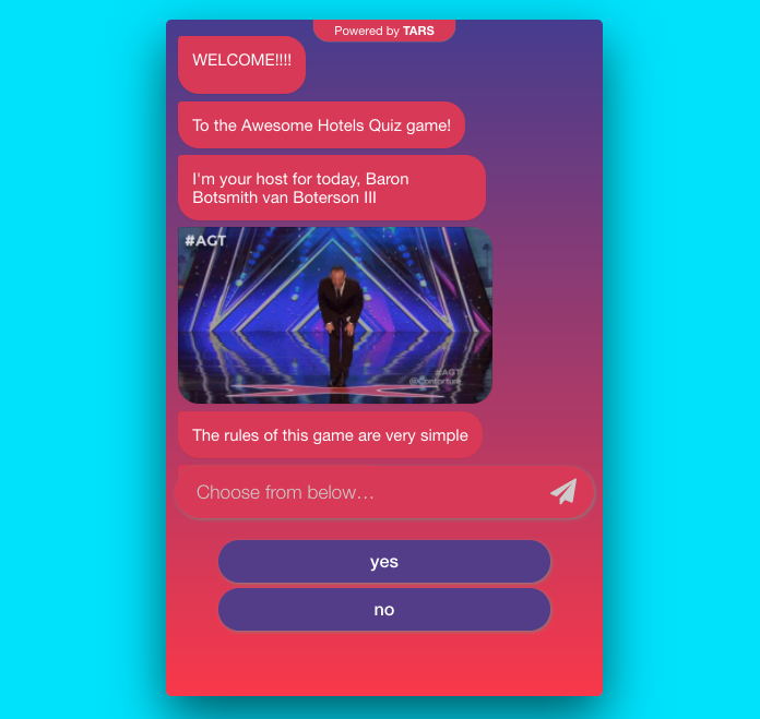 chatbot with a game show feel