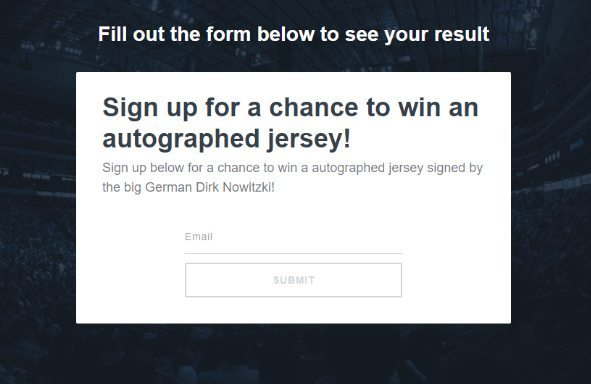 optin offering the chance to win a Dirk Nowitski jersey
