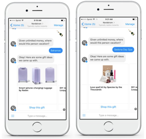coversation between Nordstrom's chatbot and potential customer with personalized gift recommendations