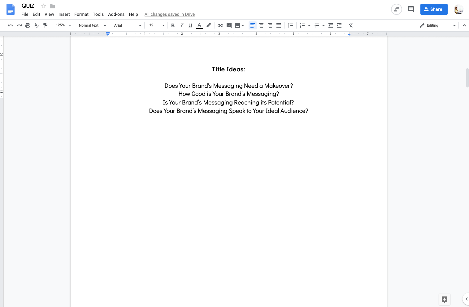 Google Doc quiz template with possible quiz titles
