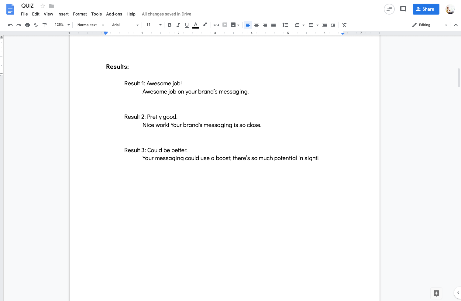 Google doc quiz template with quiz results
