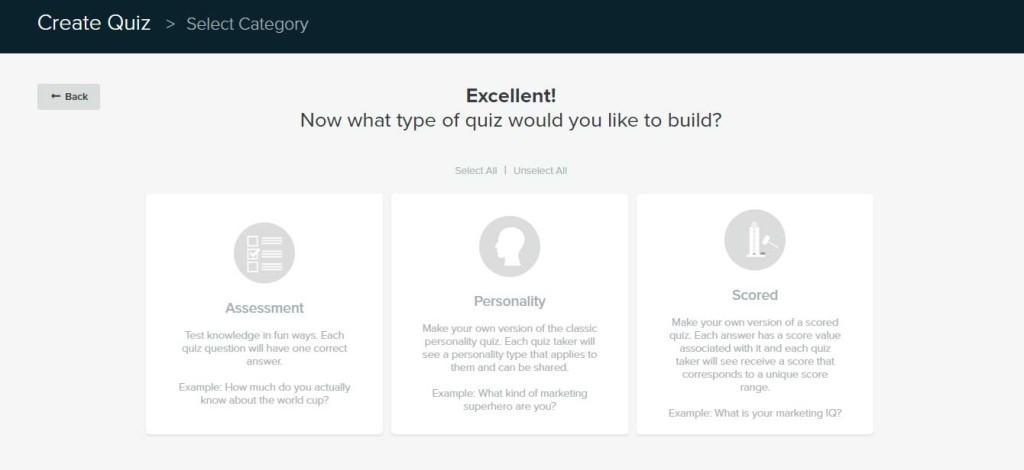 Quiz categories in Interact Quiz Builder