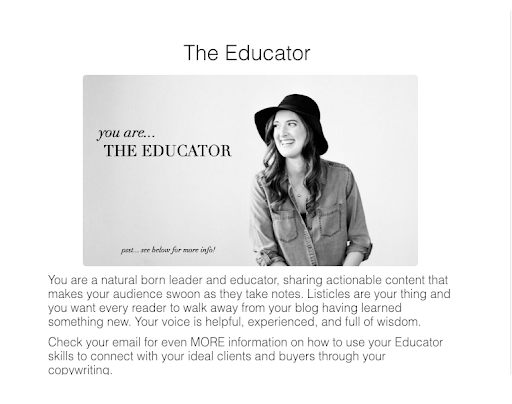 woman wearing hat with headline The Educator and description of that personality type