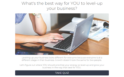 quiz cover with woman working on a laptop and What's the best way for YOU to level up your business