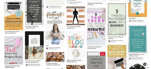 screenshot of Pinterest Smart Feed with lots of Pinterest pins