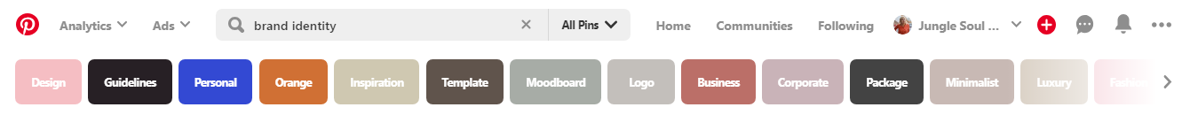 Pinterest search bar searching brand identity and the different keywords that fit under it