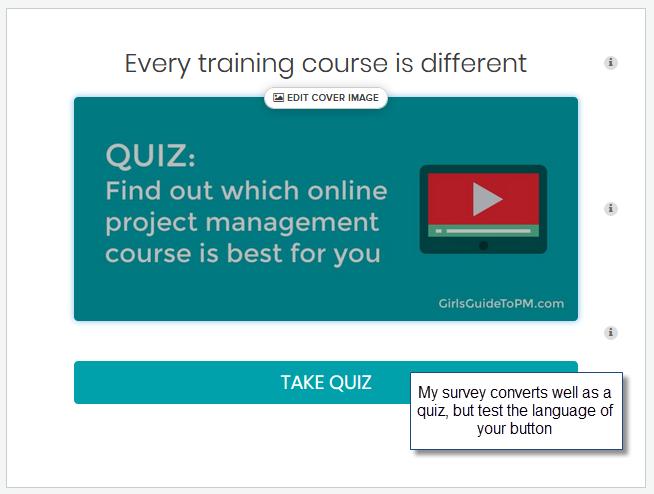 Project Management course quiz cover with description and CTA