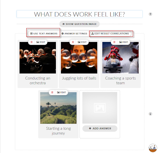 quiz creator with images showing how to add images