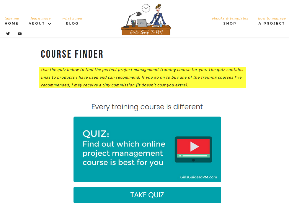 Project Management Course quiz description with affiliate link disclaimer