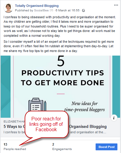 Facebook Post with link to blog post on productivity tips with low engagement statistics