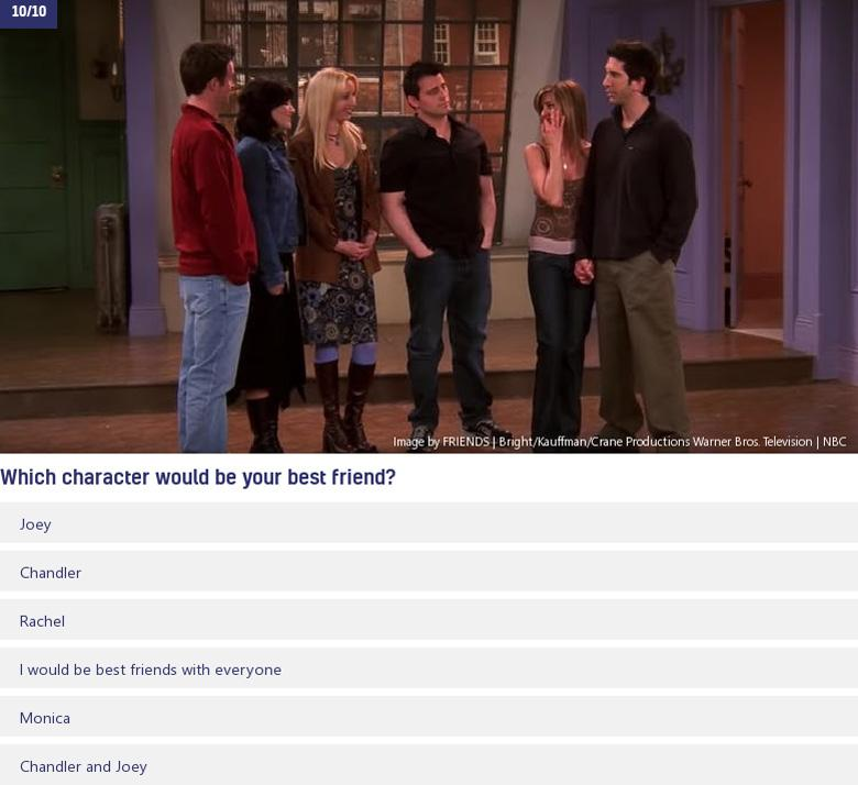 Friends' cast standing in empty apartment and Which person would be your best friend question