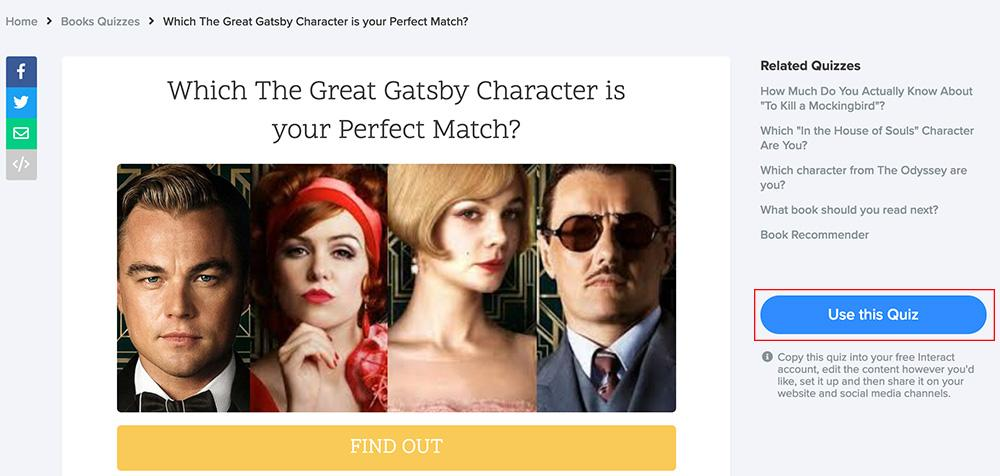 quiz template with picture of characters from the Great Gatsby movie