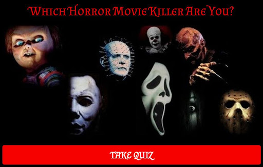 black background and horror movie characters like Chucky and the Scream mask and which horror movie killer are you
