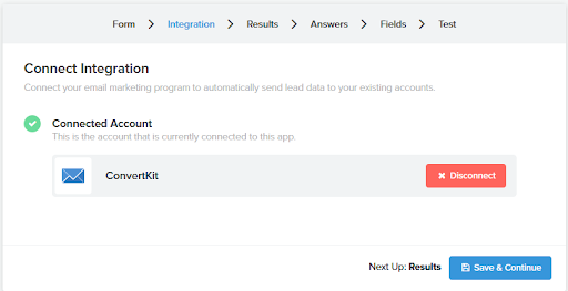 Showing how to integrate quiz results with ConvertKit ESP