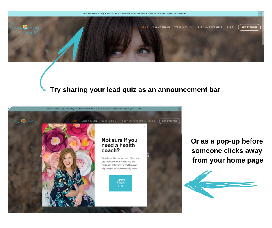announcement bar at the top of a webpage and popup advertising quiz