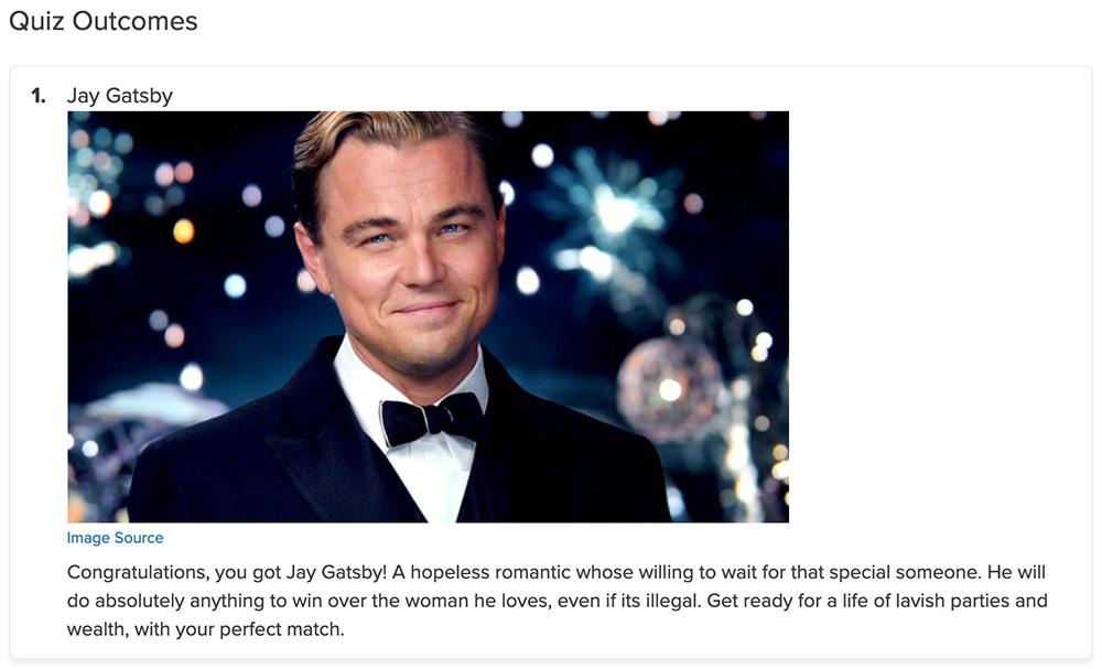 man in tuxedo with description of Jay Gatsby quiz result