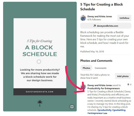 a dark blue green pin wtih 5 tips to creating a block schedule from daveyandkrista.com and a red arrow pointing to the pin description