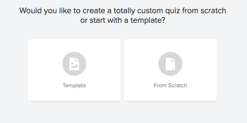 Editor where you choose to create an Interact quiz from a template or from scratch