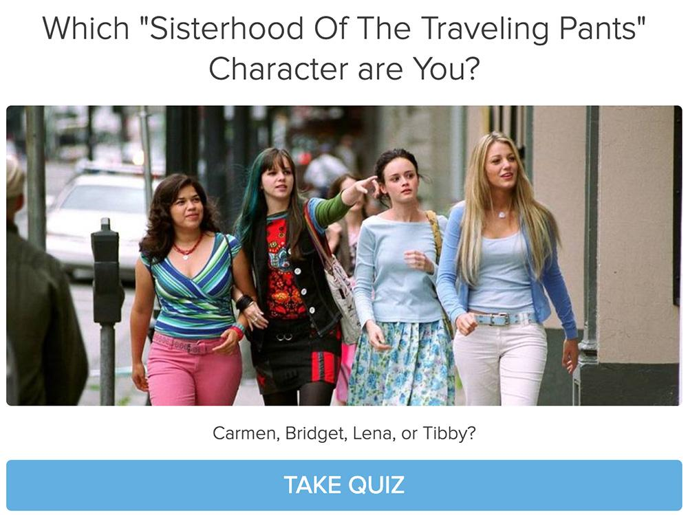 four girls walking together and Which Sisterhood of the Traveling Pants character are you