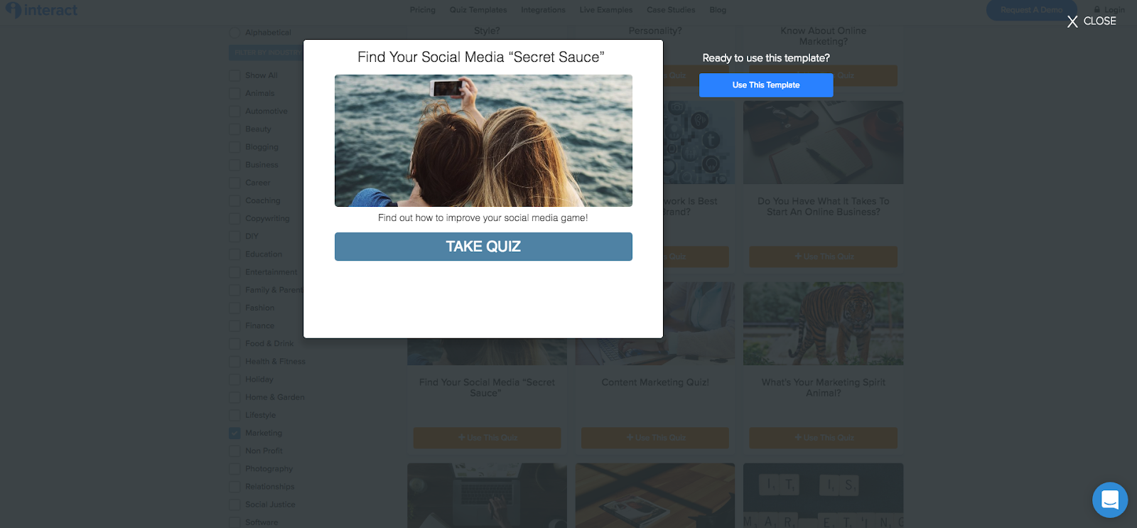 "two people taking a selfie and Find Your Media ""Secret Sauce"" quiz template"