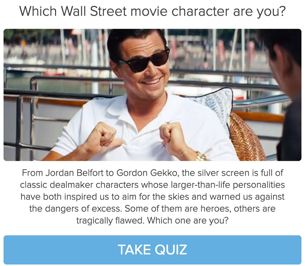 man in sunglasses pointing to himself on a boat and which Wall Street movie character are you? quiz cover