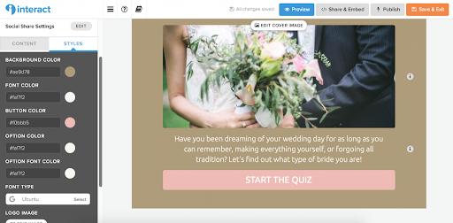 wedding quiz cover with brief description and image of bride and groom