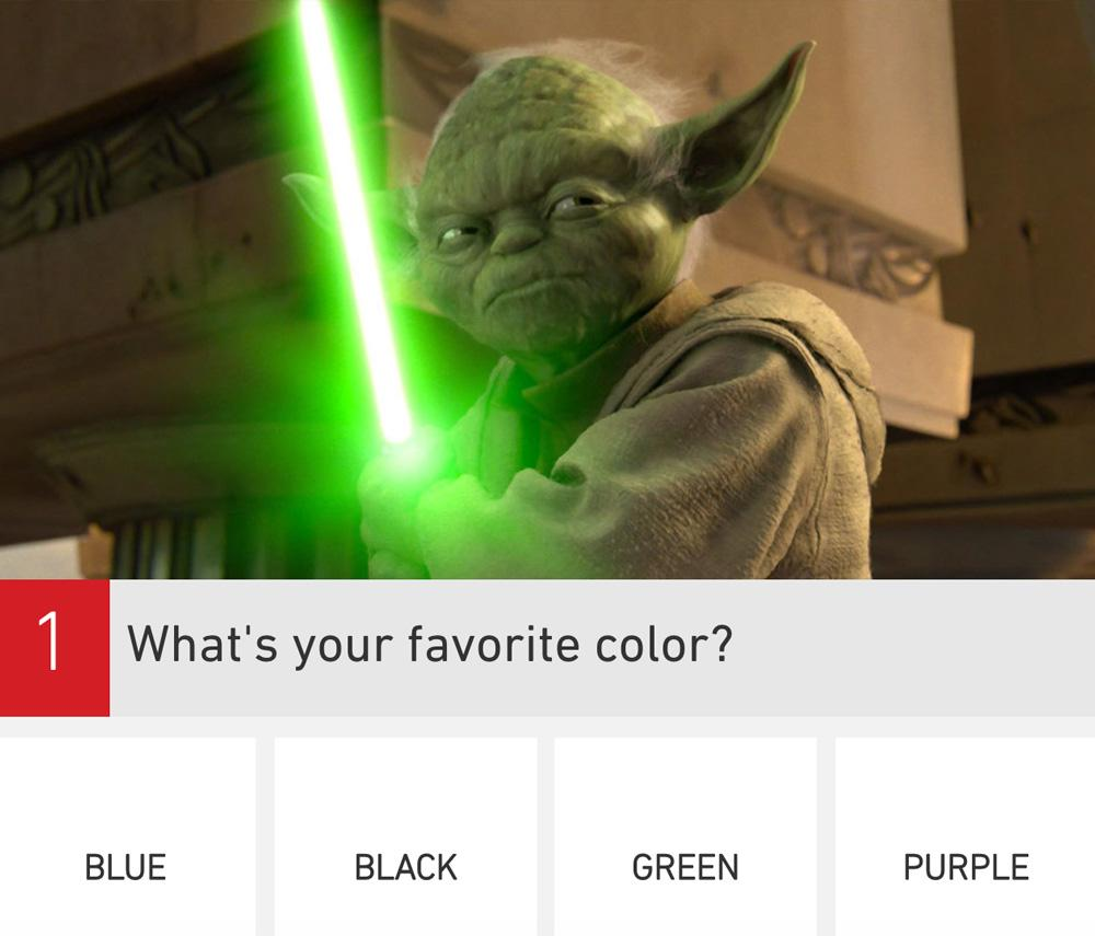 Yoda with a green light saber and What's your favorite color question