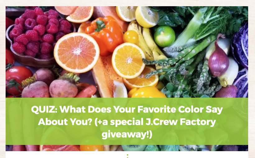 Favorite color quiz from Hello Fresh
