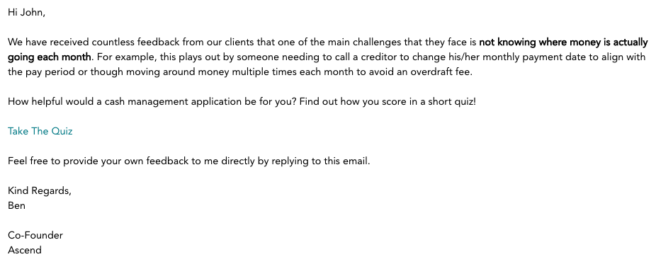 an example of an email explaining the quiz with a link to take the quiz