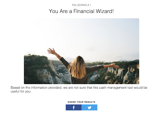 quiz results showing the quiz-taker is a financial wizard.
