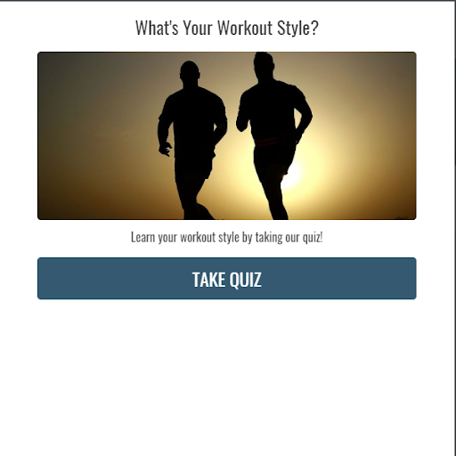 quiz cover with two people jogging at sunset and What's your workout style?