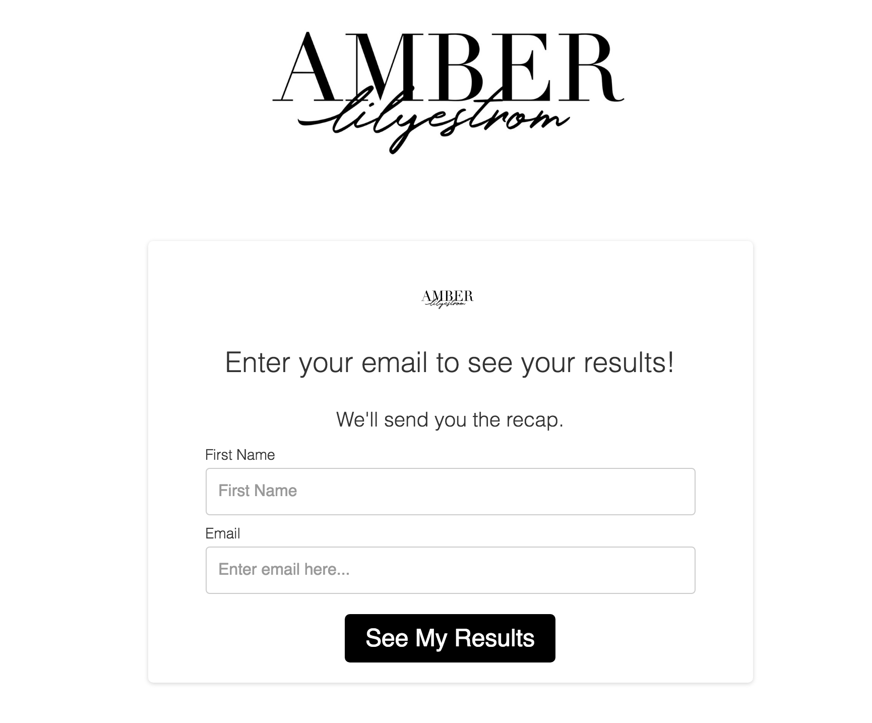 Amber Lilyestrom email optin form for quiz