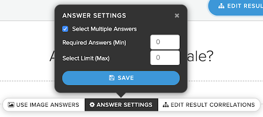 answer settings in interact quiz builder